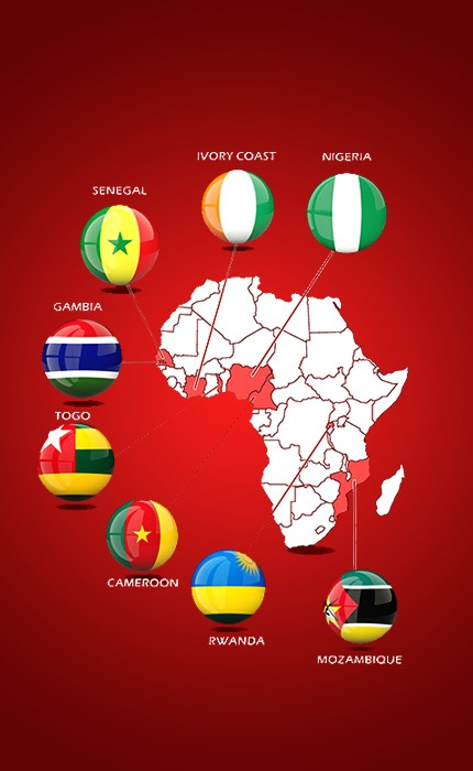 Image of countries TAF Africa Global operates in.